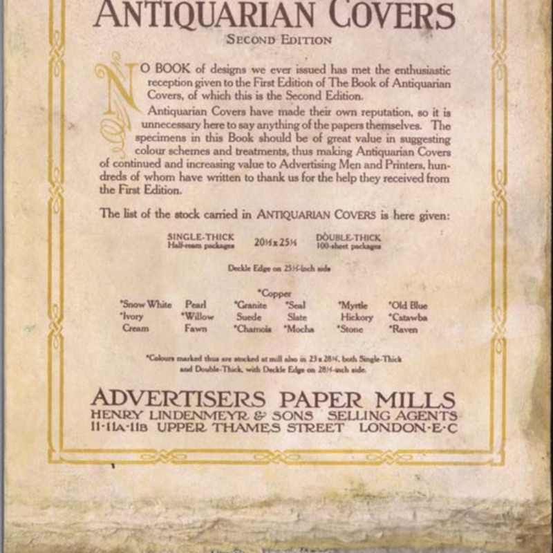 Advertisers Paper Mills  -  The Book of Antiquarian Covers